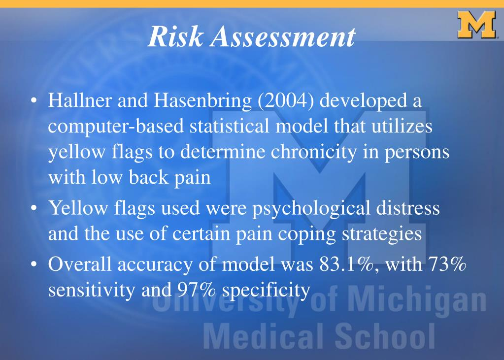 Hallner and Hasenbring (2004) developed a computer-based statistical model that utilizes yellow flags to determine chronicity in persons with low back pain