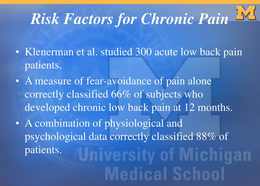 Klenerman et al. studied 300 acute low back pain patients.