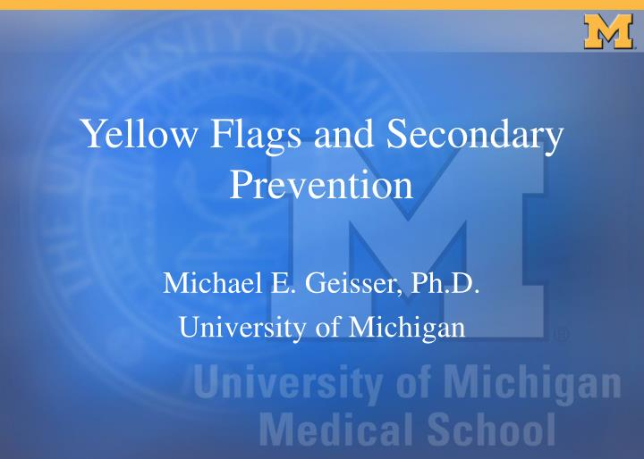Yellow flags and secondary prevention