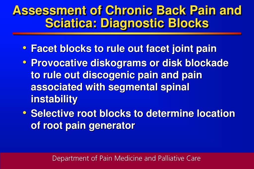 Assessment of Chronic Back Pain and Sciatica: Diagnostic Blocks