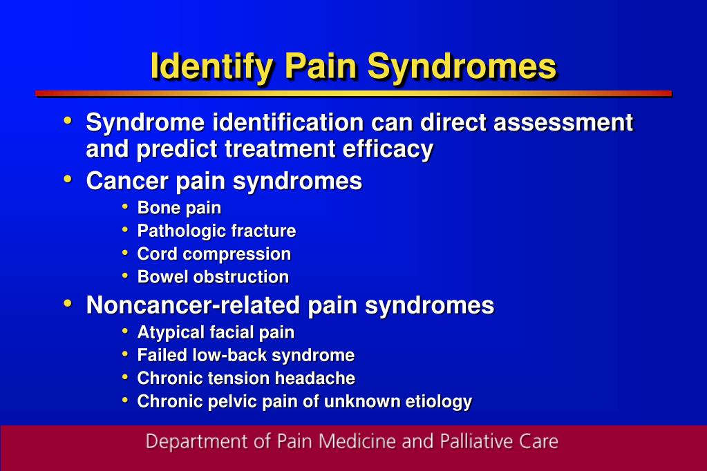 Identify Pain Syndromes