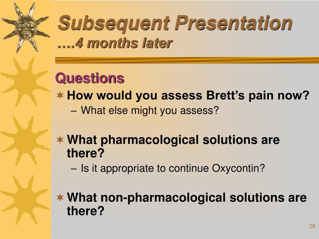 Subsequent Presentation