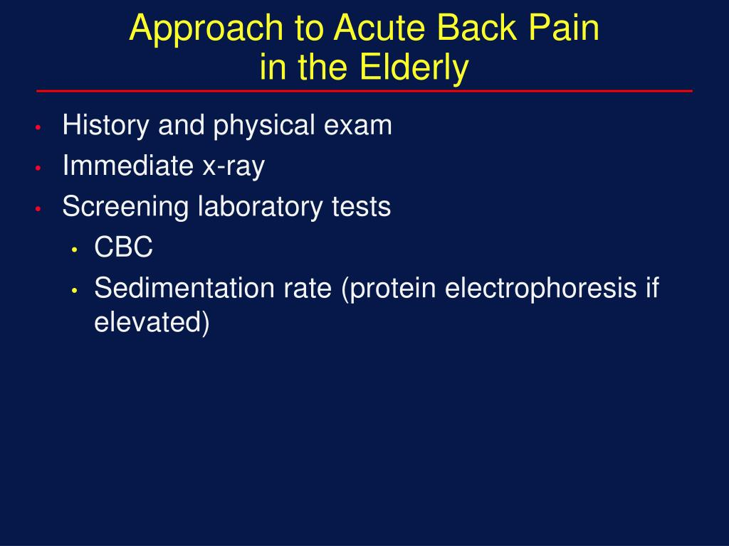 Approach to Acute Back Pain