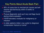 key points about acute back pain
