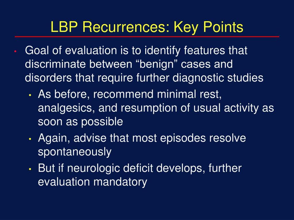 LBP Recurrences: Key Points