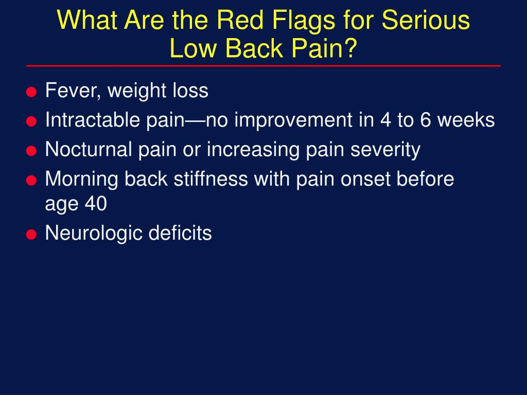 What Are the Red Flags for Serious Low Back Pain?