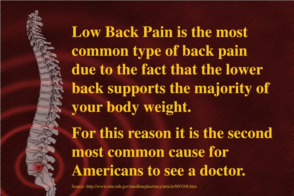 Low Back Pain is the most common type of back pain due to the fact that the lower back supports the majority of your body weight.