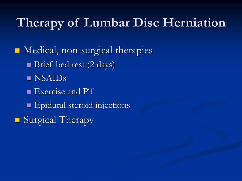 Therapy of Lumbar Disc Herniation