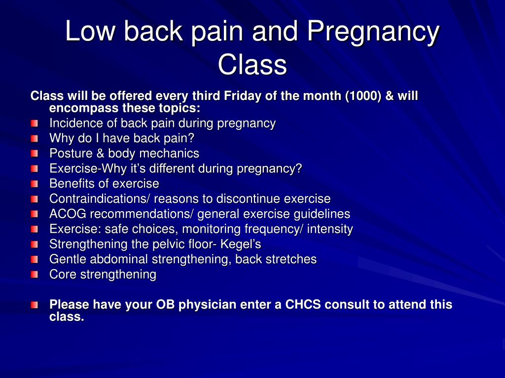 Low back pain and Pregnancy Class