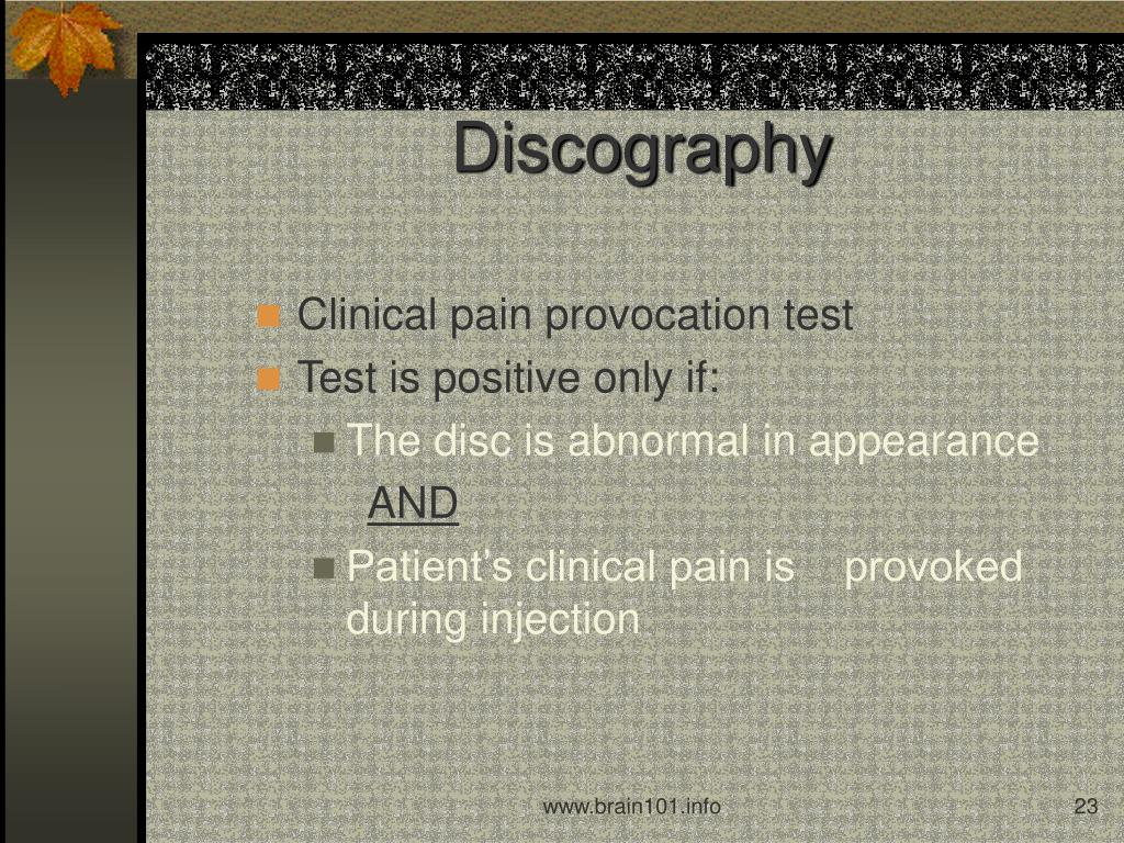 Clinical pain provocation test