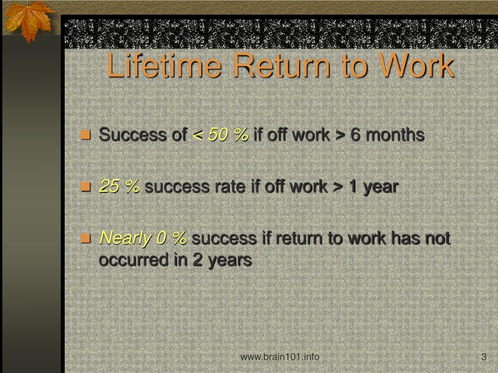 Lifetime Return to Work