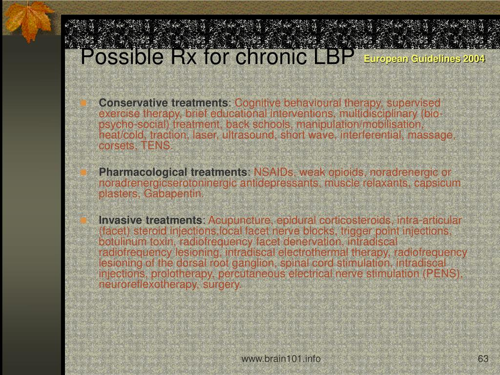 Possible Rx for chronic LBP