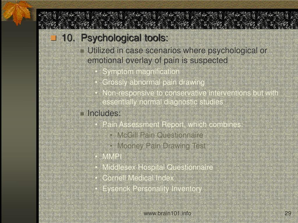 10.  Psychological tools: