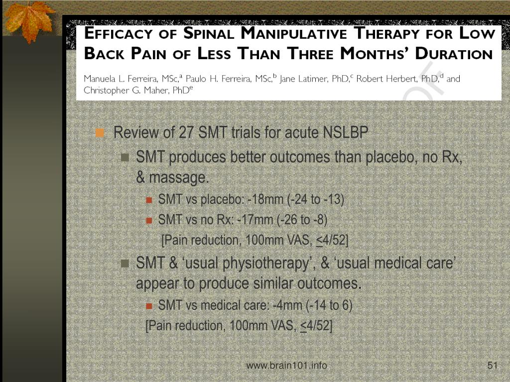 Review of 27 SMT trials for acute NSLBP