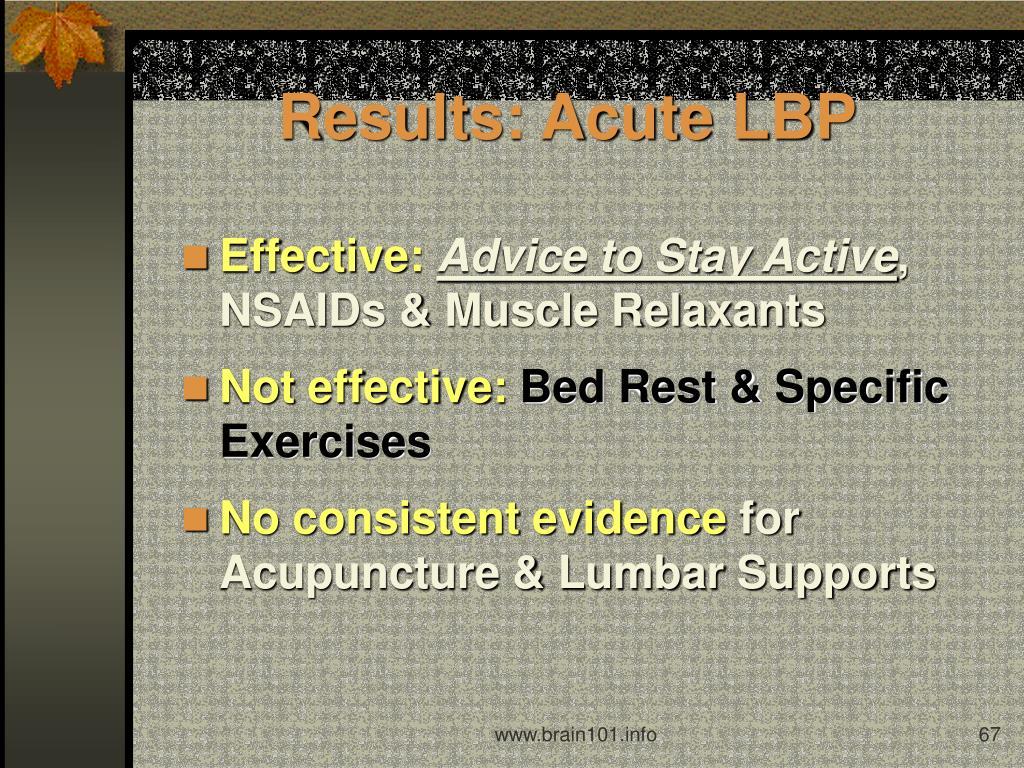 Results: Acute LBP