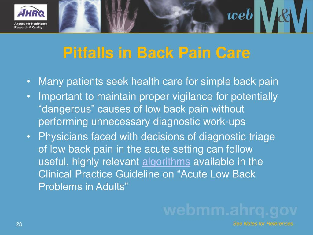 Pitfalls in Back Pain Care