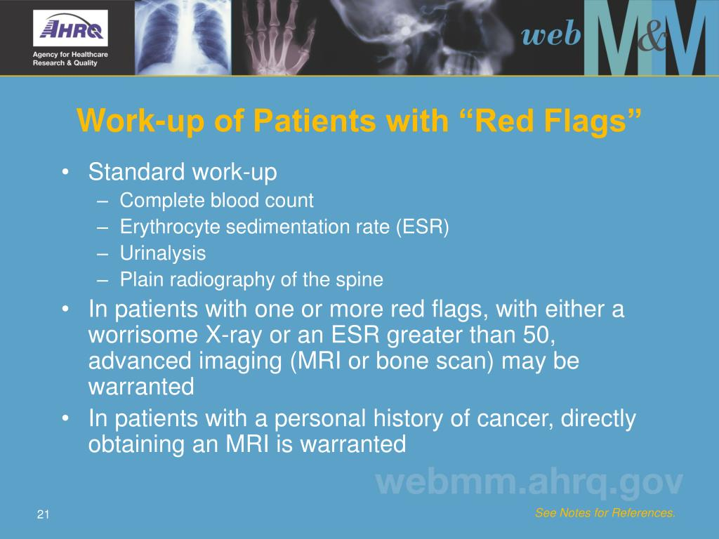 "Work-up of Patients with ""Red Flags"""