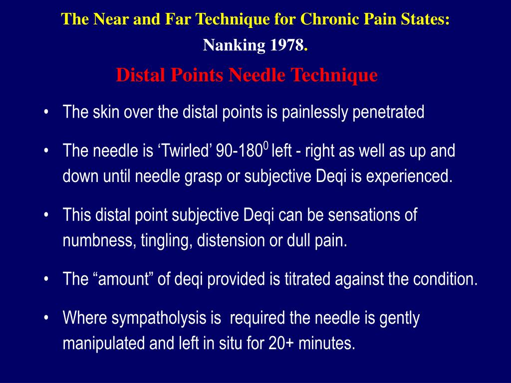 The Near and Far Technique for Chronic Pain States: