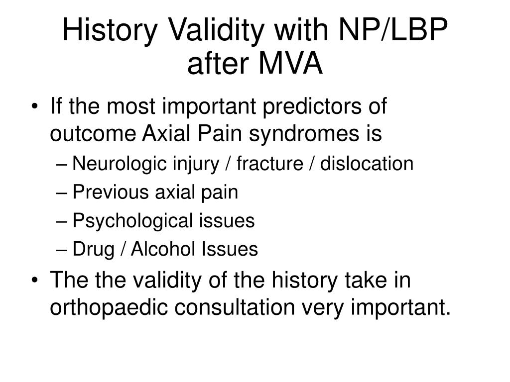 History Validity with NP/LBP after MVA
