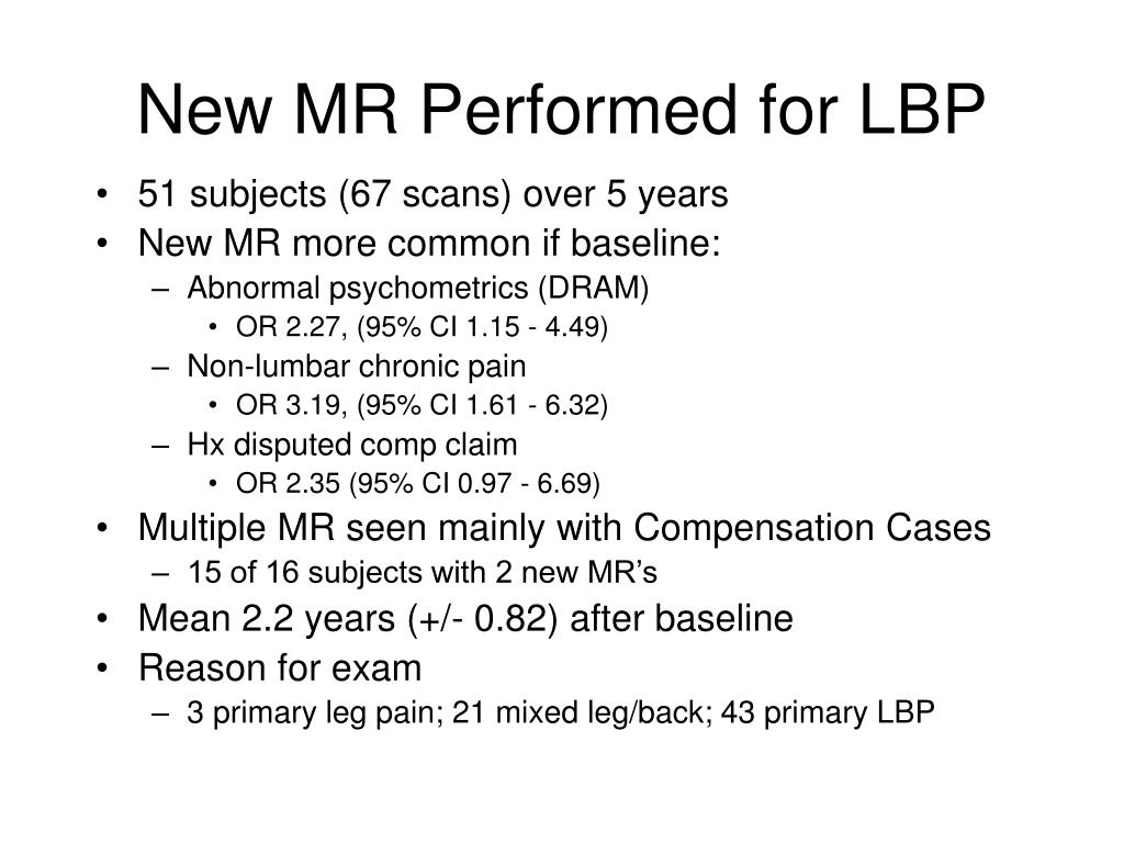 New MR Performed for LBP