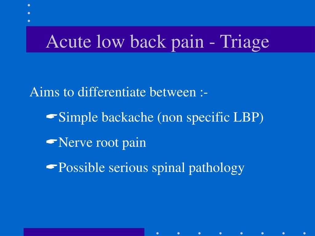 Acute low back pain - Triage