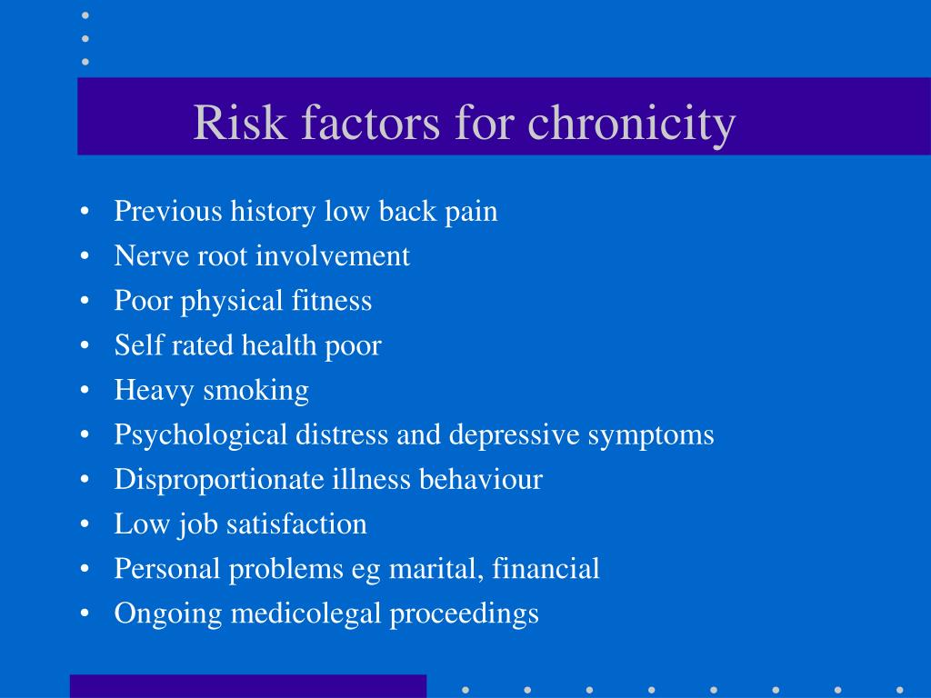 Risk factors for chronicity