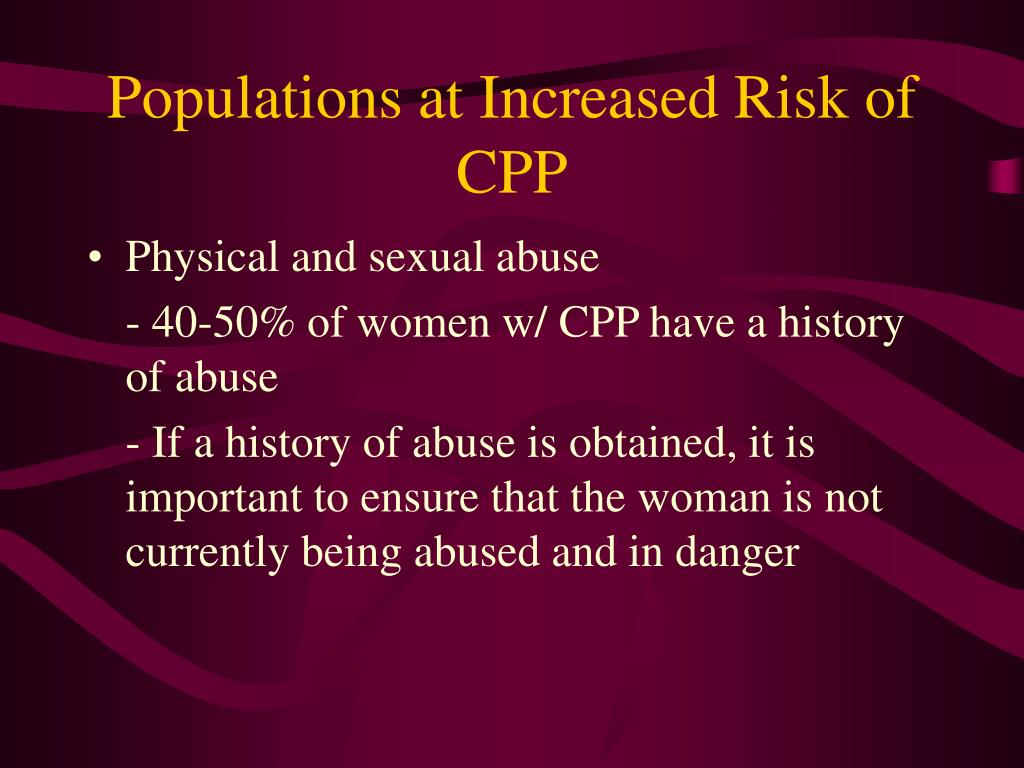Populations at Increased Risk of CPP