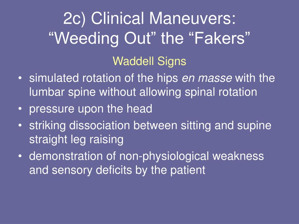 2c) Clinical Maneuvers: