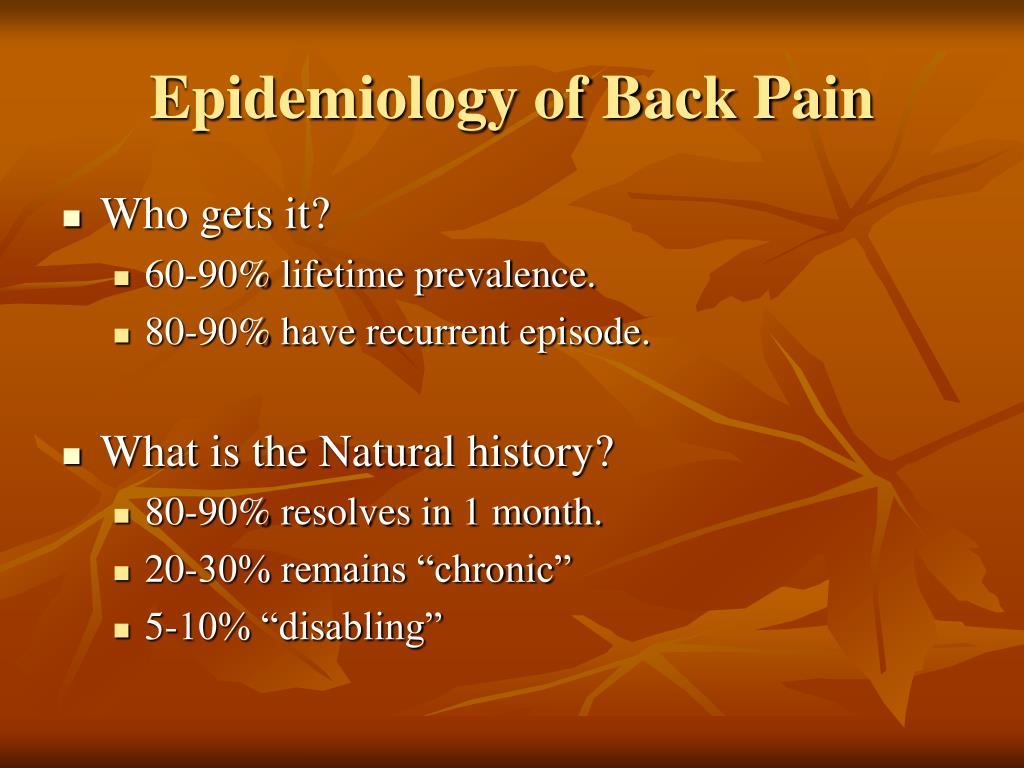 Epidemiology of Back Pain