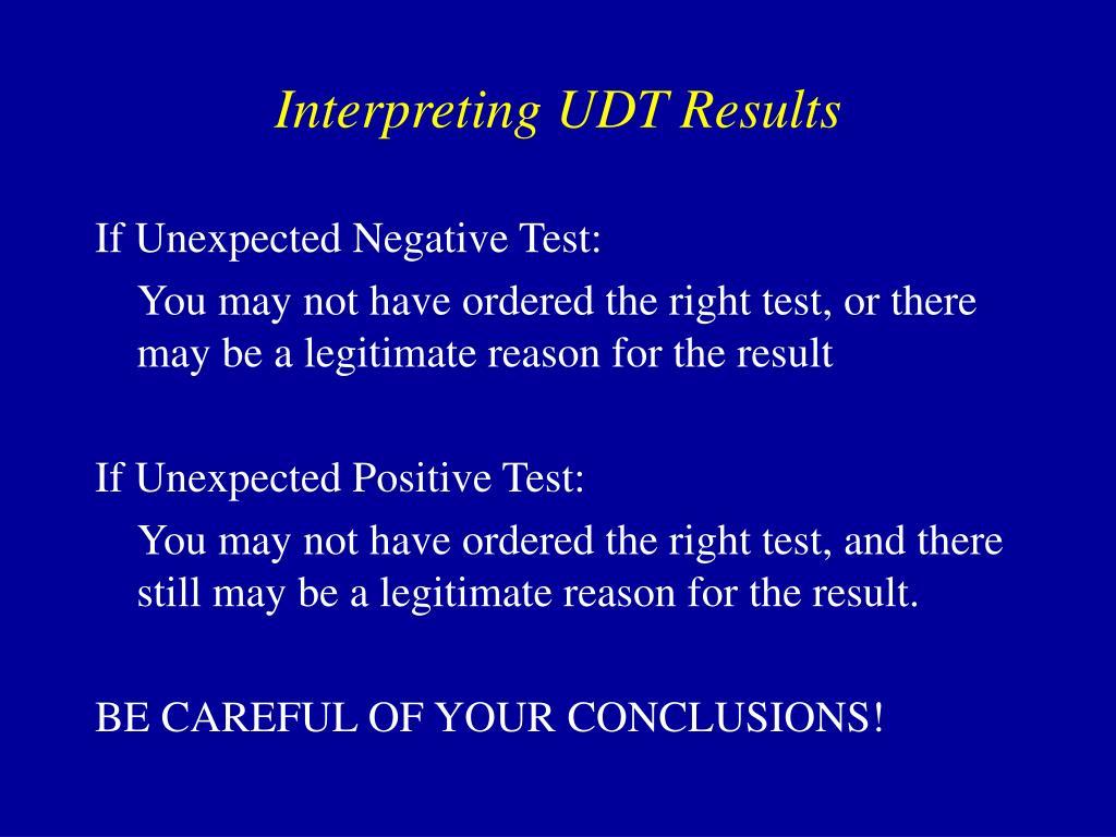 Interpreting UDT Results