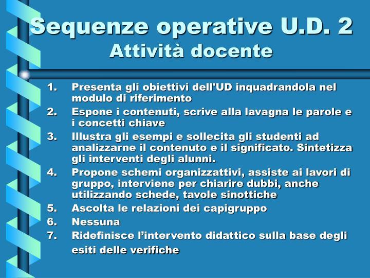 Sequenze operative U.D. 2