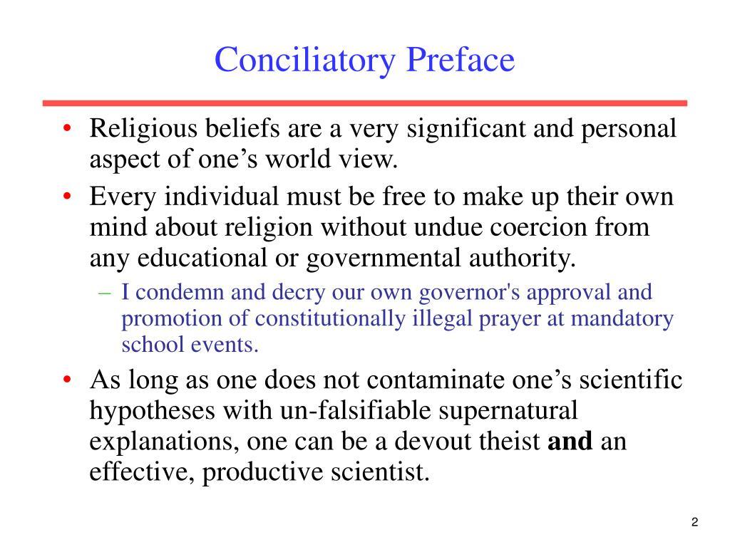 Conciliatory Preface