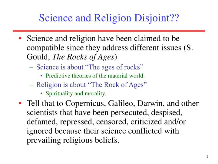 Science and religion disjoint