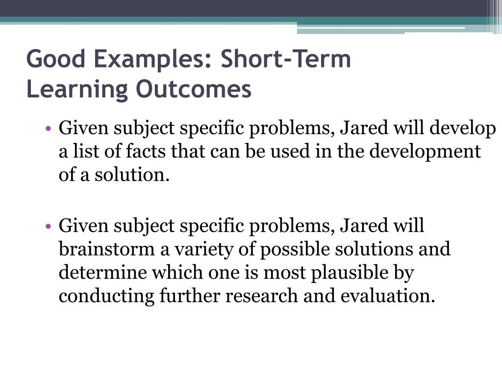 Good Examples: Short-Term Learning Outcomes