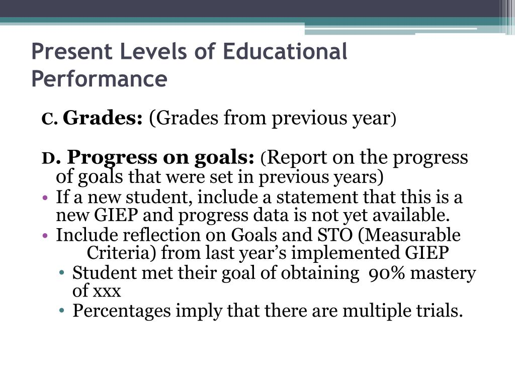 Present Levels of Educational Performance