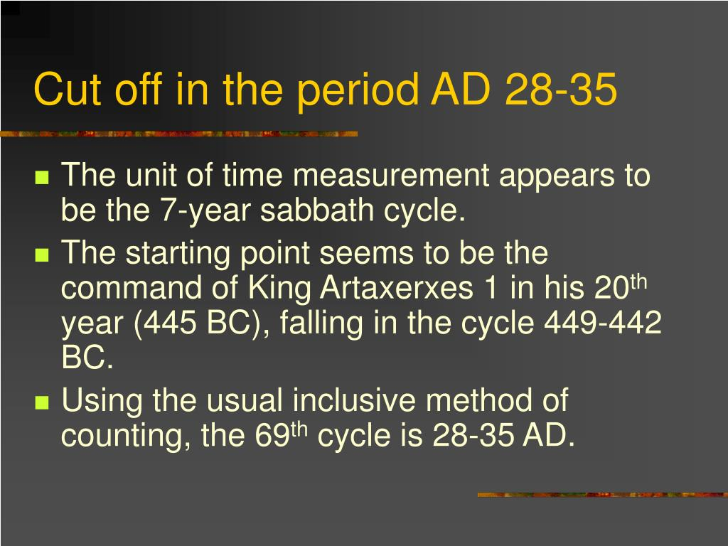 Cut off in the period AD 28-35