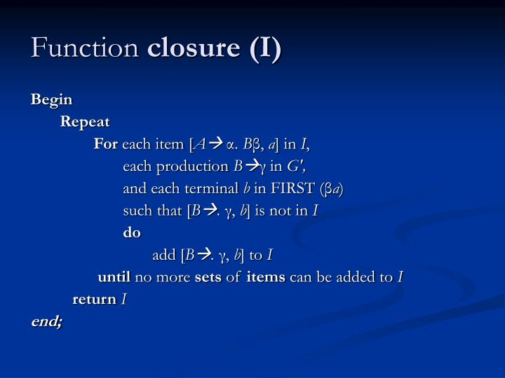 Function closure i