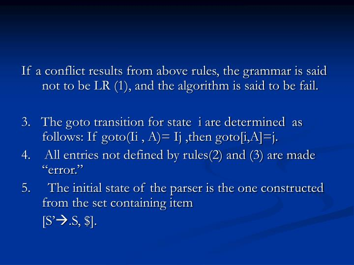 If a conflict results from above rules, the grammar is said not to be LR (1), and the algorithm is said to be fail.