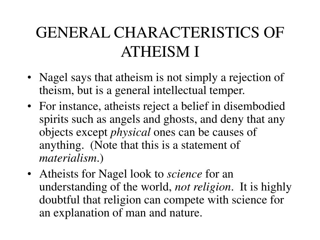 GENERAL CHARACTERISTICS OF ATHEISM I