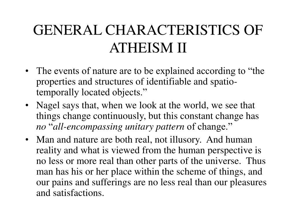 GENERAL CHARACTERISTICS OF ATHEISM II