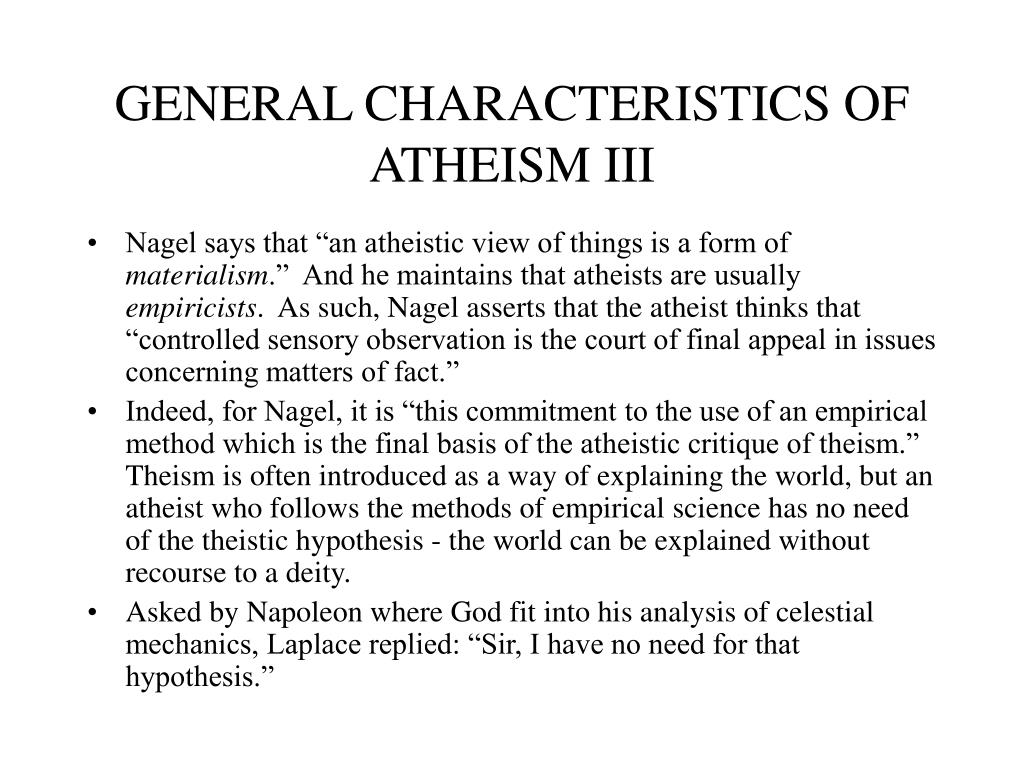 GENERAL CHARACTERISTICS OF ATHEISM III