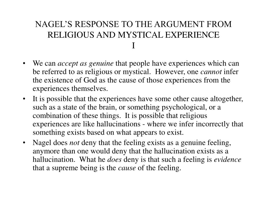 NAGEL'S RESPONSE TO THE ARGUMENT FROM RELIGIOUS AND MYSTICAL EXPERIENCE