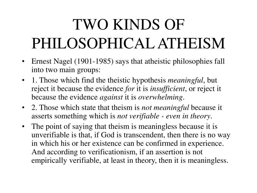 TWO KINDS OF PHILOSOPHICAL ATHEISM