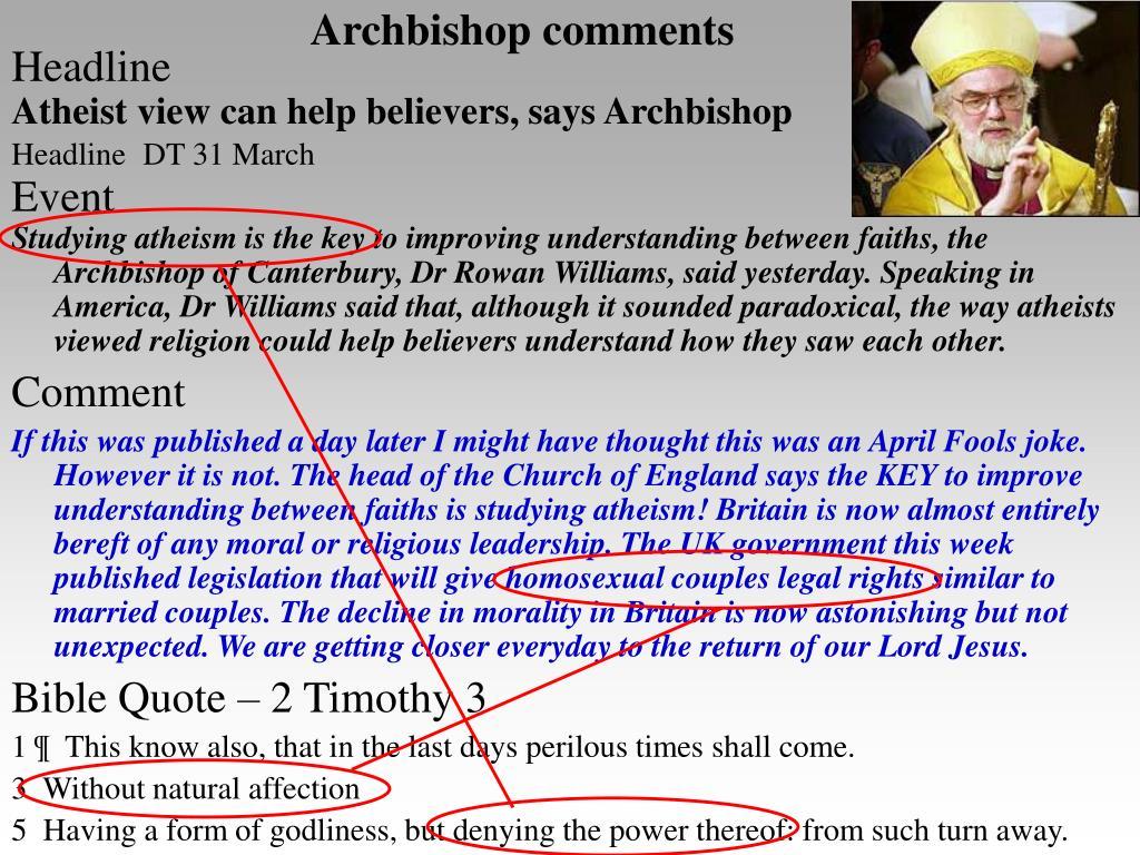 Archbishop comments