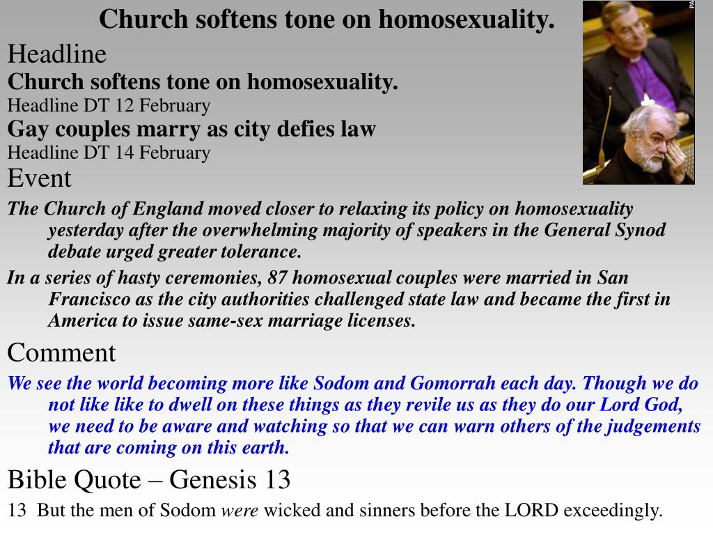 Church softens tone on homosexuality.