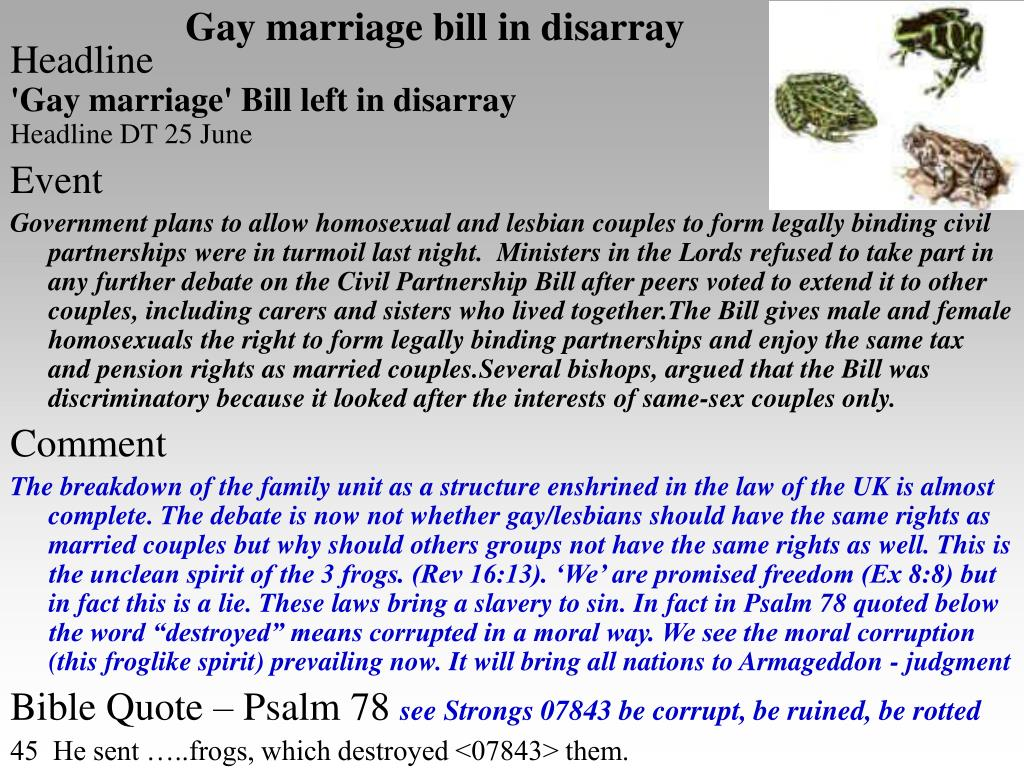 Gay marriage bill in disarray