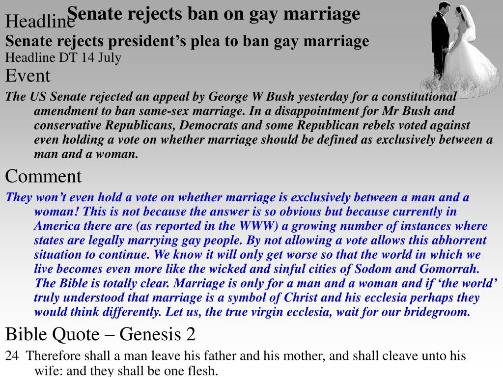 Senate rejects ban on gay marriage