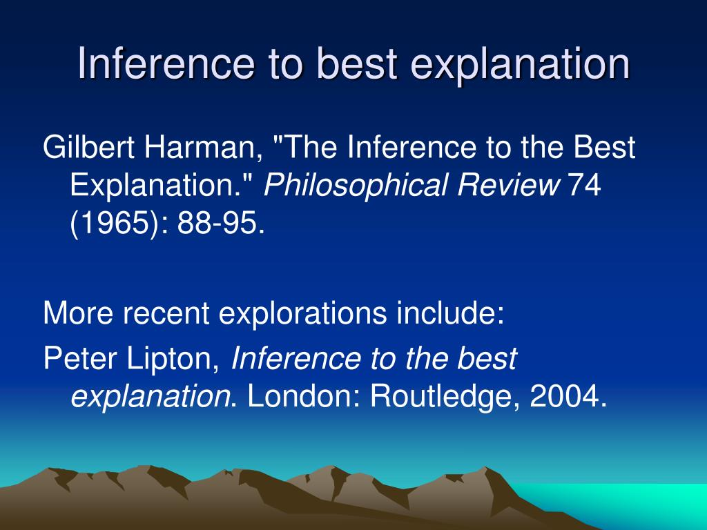 Inference to best explanation