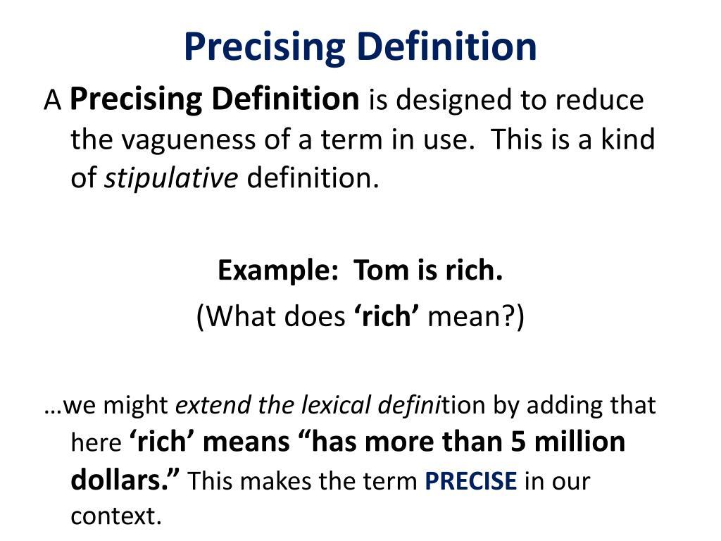 Precising Definition