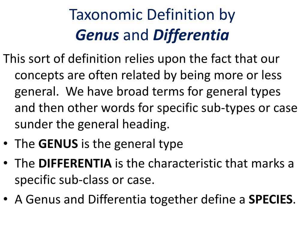 Taxonomic Definition by